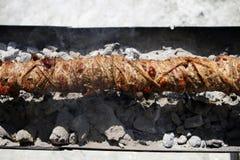 在唾液的Kokoretsi肉 库存照片
