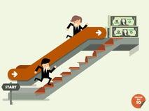 在商人上升至自动扶梯的和攀登台阶的另一个人之间的比较 免版税库存照片