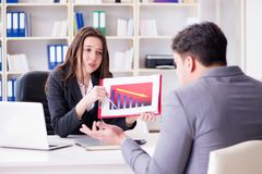 在商人和女实业家之间的业务会议 库存图片