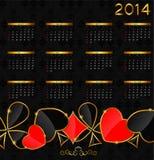 2014在啤牌题材传染媒介的新年日历 免版税库存图片