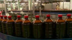在啤酒厂的传动机俄国啤酒柠檬水和啤酒饮料的生产的 股票录像