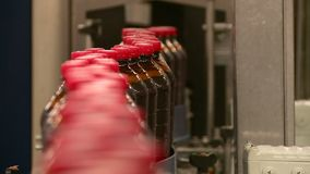 在啤酒厂的传动机俄国啤酒柠檬水和啤酒饮料的生产的 股票视频