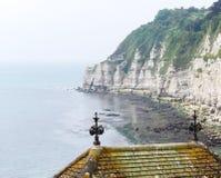 在啤酒海边镇的峭壁多西特英国南海岸的 免版税图库摄影