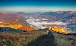 在喀尔巴阡山脉的五颜六色的秋天早晨 库存图片