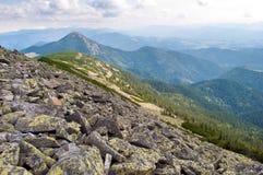 在喀尔巴阡山脉的石领域 库存图片