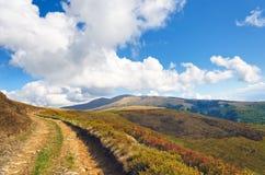 在喀尔巴阡山脉的美丽的土路 库存照片