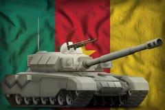 在喀麦隆国旗背景的重的坦克 3d例证 皇族释放例证