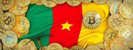 在喀麦隆旗子附近的Bitcoins在左边的金子和镐 3D我 库存例证