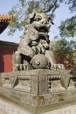 在喇嘛寺庙,北京门的皇家狮子  库存照片