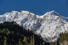 在喜马拉雅山山的庄严山峰在尼泊尔 图库摄影
