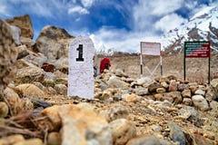 在喜马拉雅山山的第1块公里石头 免版税库存照片