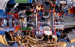 在喷气机里面的引擎 免版税图库摄影