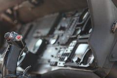 在喷气机里面的接近的驾驶舱战斗机 图库摄影