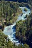 在喷泉谷,不列颠哥伦比亚省加拿大02附近的桥梁河 库存照片
