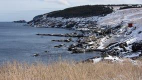 在囊小海湾,纽芬兰与拉布拉多的风景海岸线 免版税库存照片