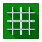 在囚犯的细胞的格子 拿着罪犯的金属门 监狱唯一象在平的样式传染媒介标志库存 库存例证