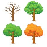 在四个季节的动画片树 皇族释放例证