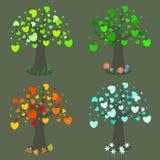 在四个季节的树 免版税库存图片