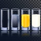 在四个版本的典雅的玻璃水、汁液和牛奶的与也包括的一空一个 照片拟真的例证 向量例证