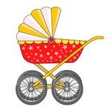 在四个轮子的婴儿推车 育儿 新出生的项目 图标 向量 图库摄影