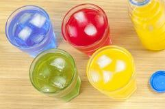 在四块玻璃上射击与另外味道的喝 库存图片