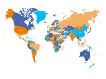 在四种颜色的世界地图在白色背景 高与国名的细节政治地图 r 皇族释放例证