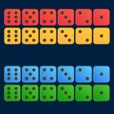 在四红色的彩色组的动画片模子平的例证,黄色,蓝色,绿色 免版税图库摄影