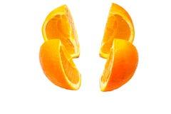 在四部分的橙色剪切 库存照片