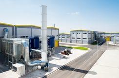 在回收的废物的全视图对能量工厂 免版税库存图片