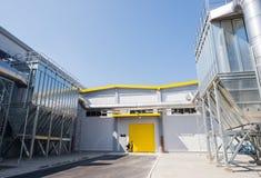 在回收的废物的全视图对能量工厂 库存照片