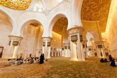 在回教族长扎耶德Grand Mosque里面 库存图片