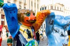 在团结的伙计熊国际画展的斯洛文尼亚熊 库存图片