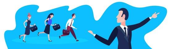在团队负责人商人指向的方向配合成功概念水平的横幅之后的商人平展 库存例证
