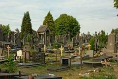 在园地Santo公墓,跟特,比利时的老坟墓 免版税图库摄影