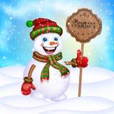 在围巾、帽子和手套的圣诞节愉快的小的雪人 库存例证