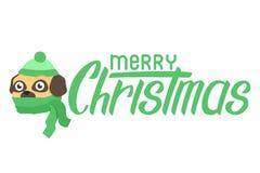 在围巾的愉快的小狗哈巴狗 在帽子的平的狗有文本圣诞快乐字法的 向量例证