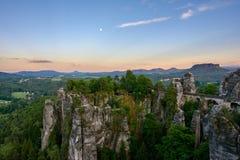 在国家公园撒克逊人瑞士的石桥梁Bastei 德国,萨克森 库存图片