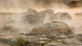 在国家公园的温泉在日出泰国期间 免版税库存图片