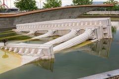 在国家戏院的假古希腊废墟在布达佩斯,匈牙利 能在剧院的公园前面找到 库存照片