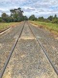 在国家设置的铁路轨道 免版税图库摄影