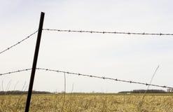 在国家领域的铁丝网篱芭 免版税库存图片