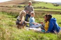在国家(地区)野餐的新成人 免版税库存照片