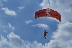 在国庆节游行排练期间的红色狮子尽量延缓张伞的跳伞运动2014年 免版税图库摄影