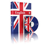 在国旗盖子和CD的英国书 免版税库存照片