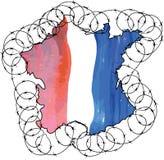 在国旗颜色上色的国家的法国形状和 免版税图库摄影