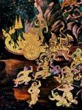 在国王宫殿曼谷泰国外墙上的壁画  免版税图库摄影