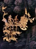 在国王宫殿曼谷泰国外墙上的壁画  库存照片