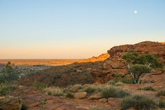 在国王峡谷的红色岩层在澳大利亚 免版税库存照片