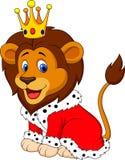 在国王成套装备的动画片狮子 向量例证