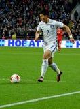 在国际性组织期间的韩国球场中央部分Heung分钟儿子frien 免版税库存图片